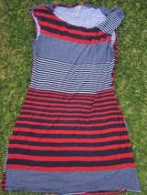 Women's red white blue short sleeve top Crew neck stripe blouse top T-shirt M - $2.94