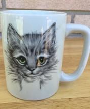 Otagiri Japan Coffee Mug - Cat Kitten Sketch Face - Green Eyes - $24.26