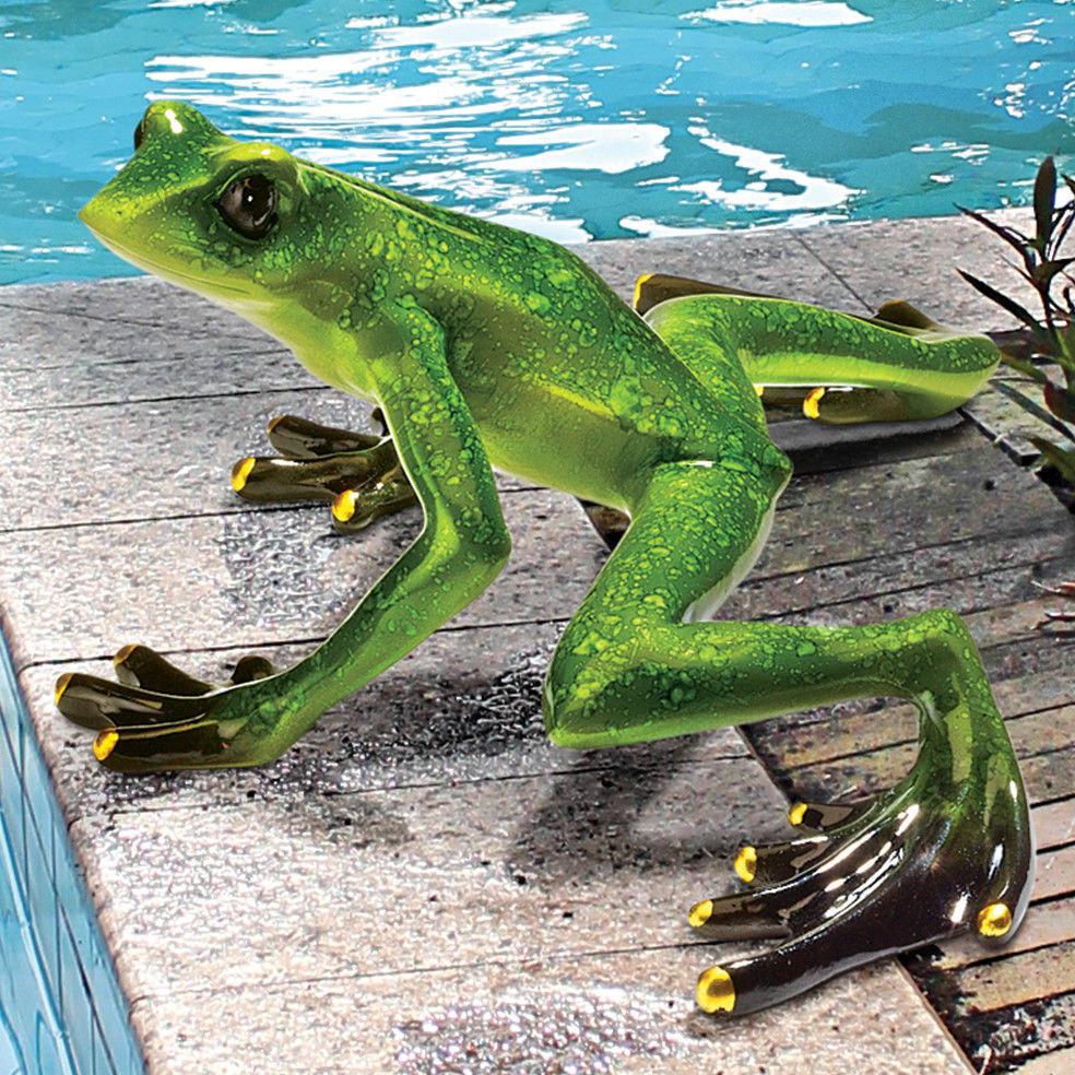 Garden frog toad statue figurine pond pool decor lawn art for Garden pond ornaments uk