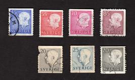 Lot of 7 Used Old Vintage 1950's Sweden Stamps King Gustav VI,Adolf - $2.56
