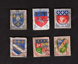 6 France Postage Stamps Coat of Arms Blasons Used From 1950's - 1960's - $2.16