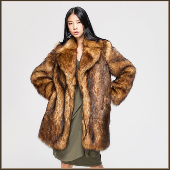 Luxury Roaring Twenties Big Muskrat Coat Turn Down Collar Imitation Faux Fur