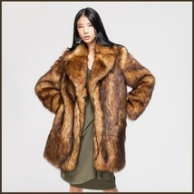 Luxury Roaring Twenties Big Muskrat Coat Turn Down Collar Imitation Faux Fur image 1