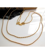 Vintage Gold Tone Layered Double Rope Chain Scr... - $9.89