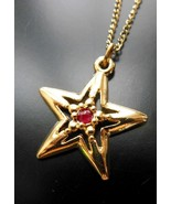 Retro Signed JJI Gold Tone Red Center Star Pend... - $8.90