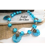 Vintage Heavy Turquoise Blue Foiled Art Glass Bead Statement Collar Neck... - $79.18