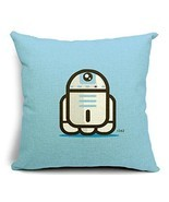 Cute Cartoon Powder Blue Star Wars R2D2 Cotton Linen Throw Pillow Cover ... - £14.57 GBP