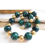 Vintage Deep Emerald Green Malachite Gold Tone ... - $98.99