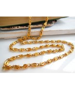 "Retro Yellow Gold Tone 30"" Long Scroll Chain Op... - $9.99"