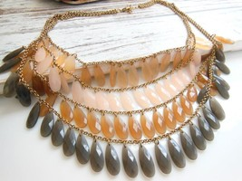 Layered Gold Multi-Chain Shades of Brown Teardr... - $17.80