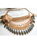 Layered Gold Multi-Chain Shades of Brown Teardr... - $17.99