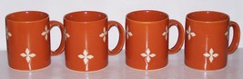 POTTERY BARN Set of 4 DUNE Handled Mugs Orange with Diamonds - $32.41