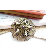 Vintage Antique Gold Filigree Purple Rhinestone... - $12.86