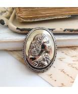Vintage Metallic Mirrored Silver Metal Girl Cam... - $14.84