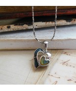 Green & Gold Enamel Silver Tone Double Heart Pe... - $12.86