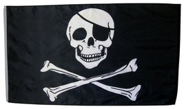Jolly Roger With Eye Patch Pirate Flag 3' X 5' Indoor Outdoor Banner - $9.95