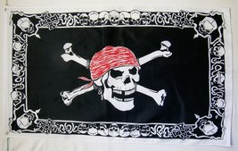 Pirate Skull With Border Flag 3' X 5' Indoor Outdoor Pirate Banner - $9.95