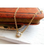 Clear Crystal Rhinestone Solitaire Pendant Gold... - $18.79