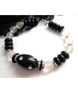 Vintage Black Frosted Clear Lucite Rhinestone B... - $34.99