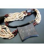 Vintage Boho Tribal Tan Wood Black Rust Glass B... - $18.99