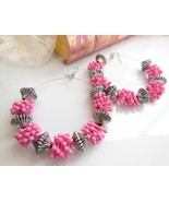 Chunky Long Huge Distressed Silver Pink Plastic... - $9.89
