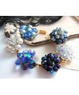 OOAK Vintage Bead Cluster Earring Blue Crystal ... - $29.69