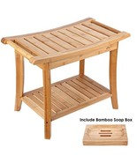 HOMECHO Bamboo Shower Bench Stool Seat with Shelves Waterproof Wooden Ba... - $53.93