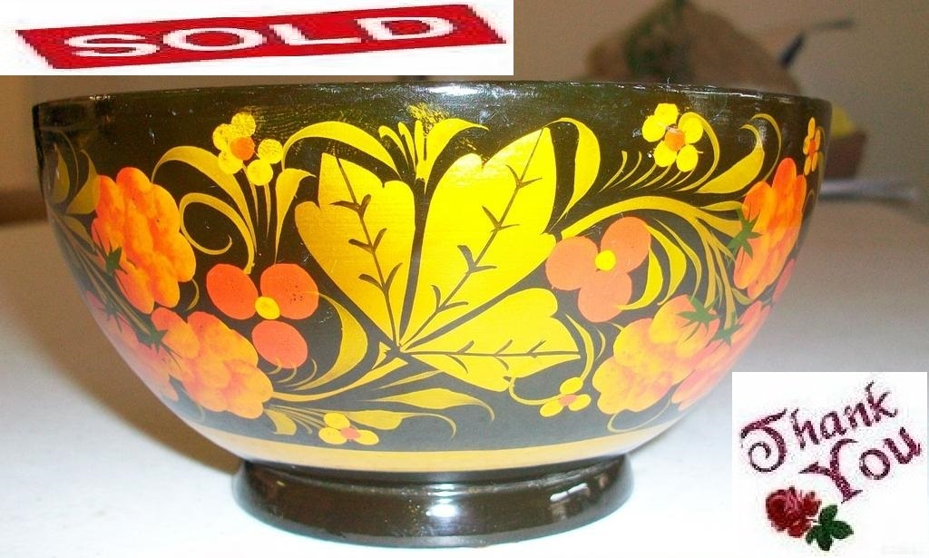Vintage russian folkart lacquer small bowl   spoon