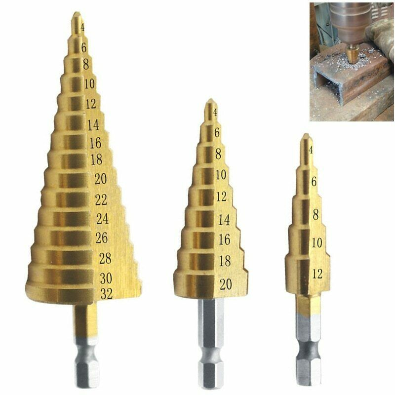"Primary image for 1/3Pcs HSS Titanium Nitride Coated Step Drill Bit Set Quick Change 1/4"" Shank"