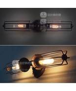 Edison Caged Inline Double Sconce-Aged Steel RH Wall Lamp RH Restoration... - $83.22