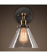 Funnel Wall Lamp Glass Shade Filament Sconce E27 Light Loft Lighting Fix... - $36.10