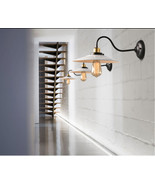 Vintage Style Barn Wall Sconce Gooseneck Wall Light White Shade Fixture ... - $73.50