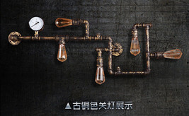 Vintage Industrial Loft Pipe 5 Bulb Sconce Steampunk Wall Lamp Indoors E27 Light - $173.42+