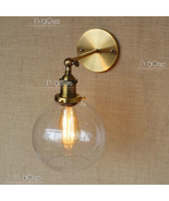 20TH C. Factory Filament Clear Glass Sconce Antique Brass Wall Lamp Cafe... - $62.25