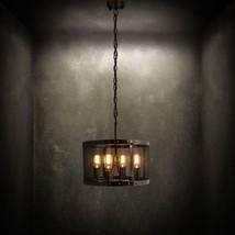 Vintage Pendant 4 Bulb Mesh Pendant Ceiling Lamp Aged Steel 20TH C. Chandelier - $269.75