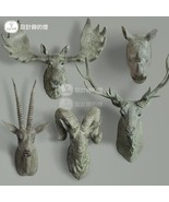 Stags Head Holiday Animal Head Wall Sculpture 3D Resin Wall Art Decor Or... - $56.00