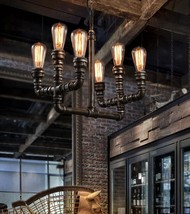 Industrial Machine Age Style Pipe Pendant Antique Black/rust Finish Ceiling Lamp - $68.92+