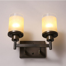 Double Candle Pillar Wallmount E27 Light Antiqued Metal & Glass Wall Sconce - $116.50