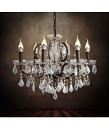 19th C. Rococo Hanging Lamp Rustic Iron & Clear Crystal Round Chandelier... - $345.49