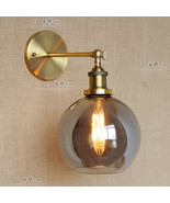 20TH C. Factory Filament Smoke Glass Sconce Antique Brass Wall Lamp Cafe... - $71.60