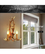 Vintage Industrial Resin Aspen Antler Wall Sconce Natural Finish Wall Fi... - $93.14