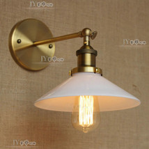 Vintage Factory White Glass Wall Lamp Anqitued Brass Sconce Edison E27 Light - $63.21