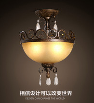 Triple Glass & Cast Iron Crystal Flush Mount Antique Bronze Finish Ceiling Lamp - $227.75