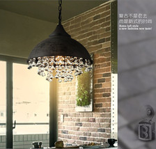 Vintage Styel Mesh Caged Pendant Pyramid Shape Ceiling Lamp Antique Rust Light - $223.00