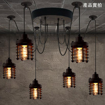 Retro Industrial Style 6 Light Metal Caged Chandelier Rustic Finish Ceiling Lamp - $312.88