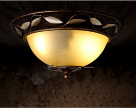 Retro Industrial Metal Leaf Frame Flush Mount Antique Bronze Finish Ceiling Lamp - $121.16