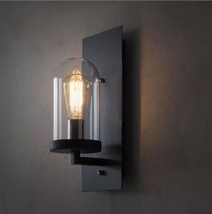 Vintage industrial Style Loft Wall Sconce Glass Shade Wall Lamp Metal Plate New - $65.08