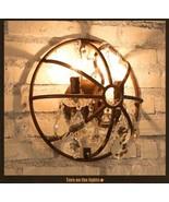 "Foucault's Orb Crystal Sconce 13"" - Rustic Iron Wall Lamp Restoration Li... - $157.55"