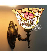 YX Tiffany Style Butterfly Stained Glass Pattern Wall Sconce Indoors Lig... - $82.28