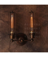 Vintage Antiqued Copper Finish Wall Lamp Caged Double Sconce Restoration... - $73.52